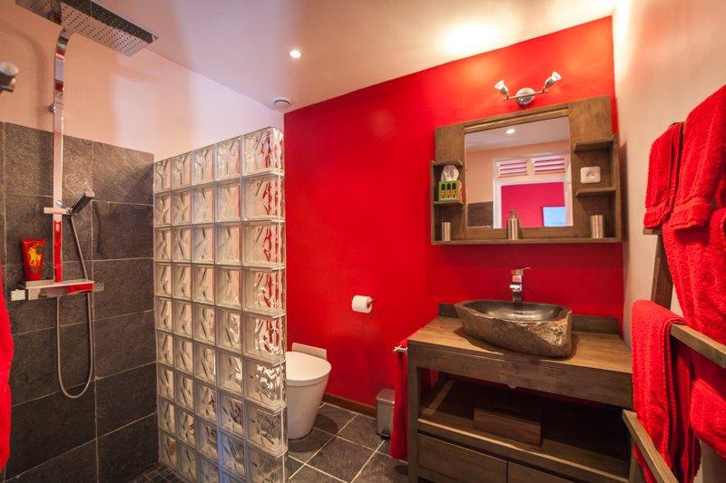 La ducha de baño, incluye lavabo, ducha y WC
