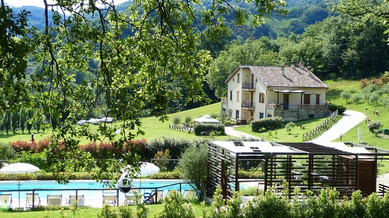 BUDDLEJA-Cerqua Rosara Residence large apartment in villa with pool near Assisi, Ferienwohnung in Armenzano