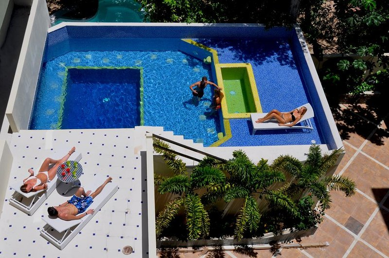 Lounge around this two-tier pool
