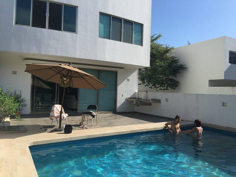 Piscina privata con vista sul parco centrale con piscina a sfioro superficiale e per sdraiarsi.