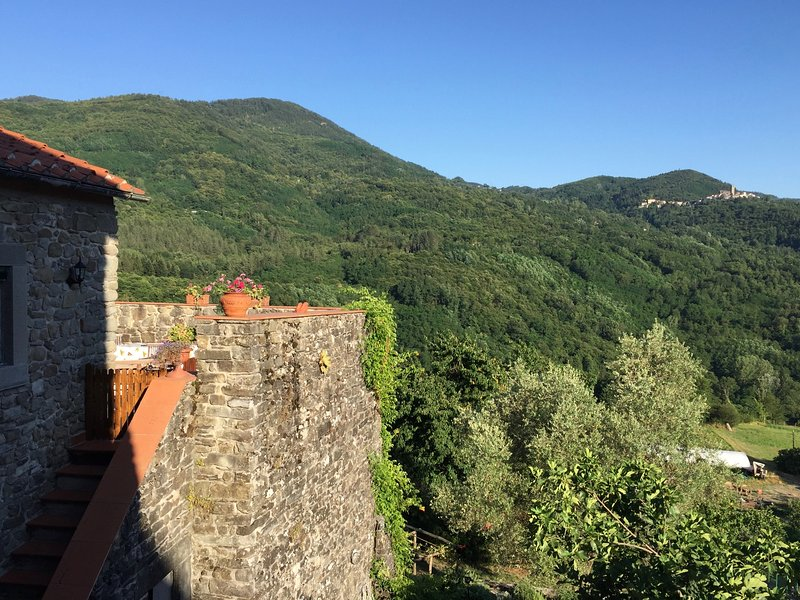 Stunning views of the Appenine mountains from the roof terrace of Casa Nicola