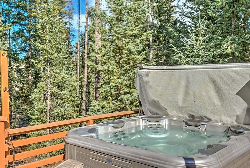 The hot tub will be a welcome sight after a long day of skiing.