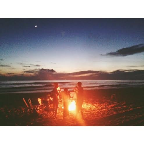 A beach bonfire after a beautiful sunset is always fun.