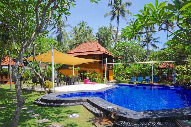 Pool, deck & villa 4 from garden