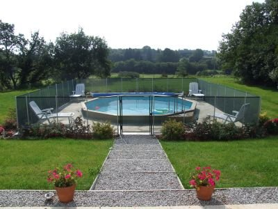 Outdoor heated pool with lovely views towards the valley