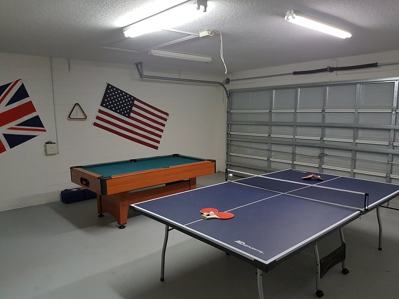 Games room with table tennis and pool table
