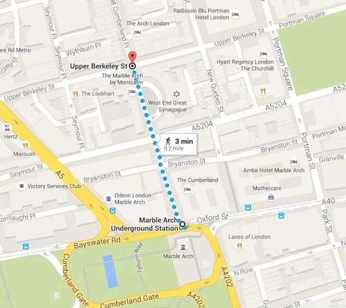 El apartamento está a pocos pasos de Marble Arch, cerca de Bond Street, Oxford Street, Hyde Park