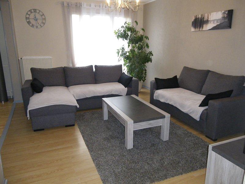 Salon avec canapé lit convertible 140x190 cm.