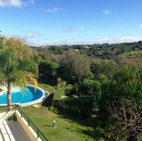 Uitzicht op het zwembad vanuit alle terrassen aan de achterzijde