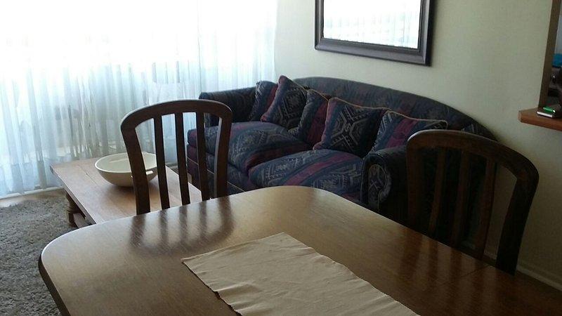 Salon pour 6 personnes confortablement, balcon pour fumer, brun plancher de carreaux de porcelaine lumière.
