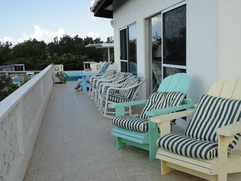 Deck in Front of Great Room, viewing boats, ships, & St Martin