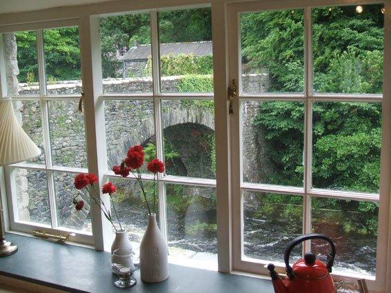 Kitchen window overlooking River Greta in Kewick