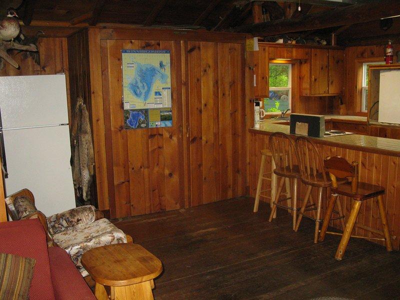 Log cabin construction.