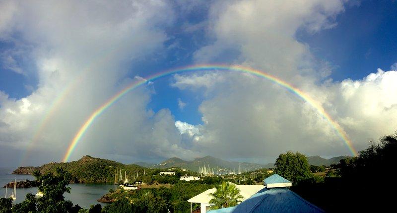 morning rainbow from villa deck