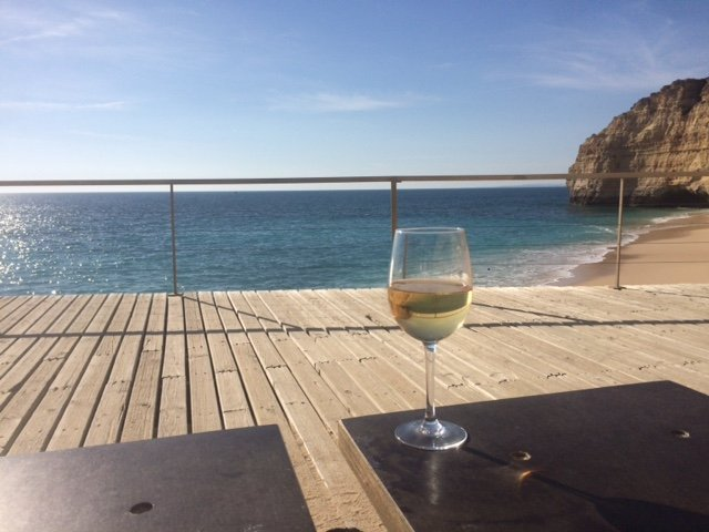 Glass of wine at the stunning Centianes beach, less than a 5 minute walk away