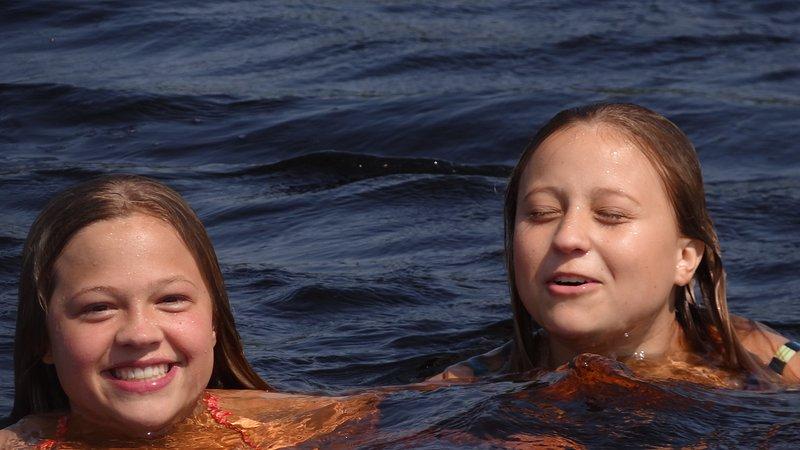 Take a lake dip off your swim raft!