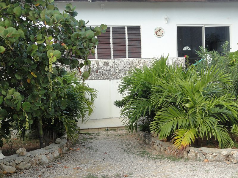 Entrance from parking area.  You will love all the vegetation & flowers.