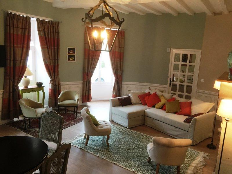 Cottage de  la Tour - duplex 90m2  troglodyte jardin piscine à Azay le rideau, holiday rental in Azay-le-Rideau