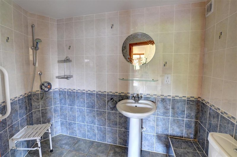 Adjacent to the ground floor bedroom is a fully accessible wetroom, with shower stool and grab rails