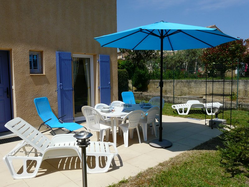 the terrace and its furniture, folding chairs used at the pool
