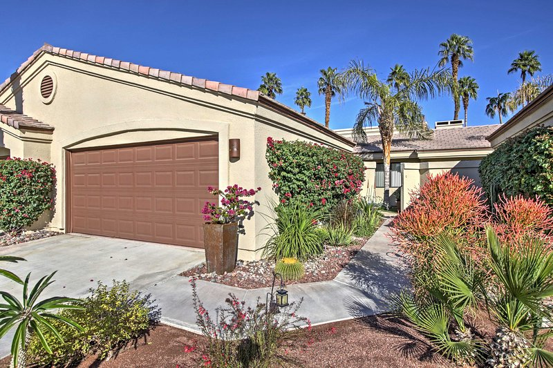 Retreat to this 3-bedroom Palm Desert vacation rental condo for your next getaway!
