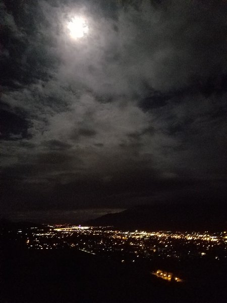 night time view with full moon