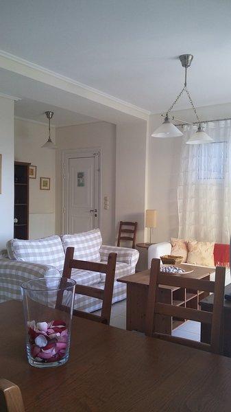 Eingang, Wohnzimmer und Essbereich, Appartment Alkyonis