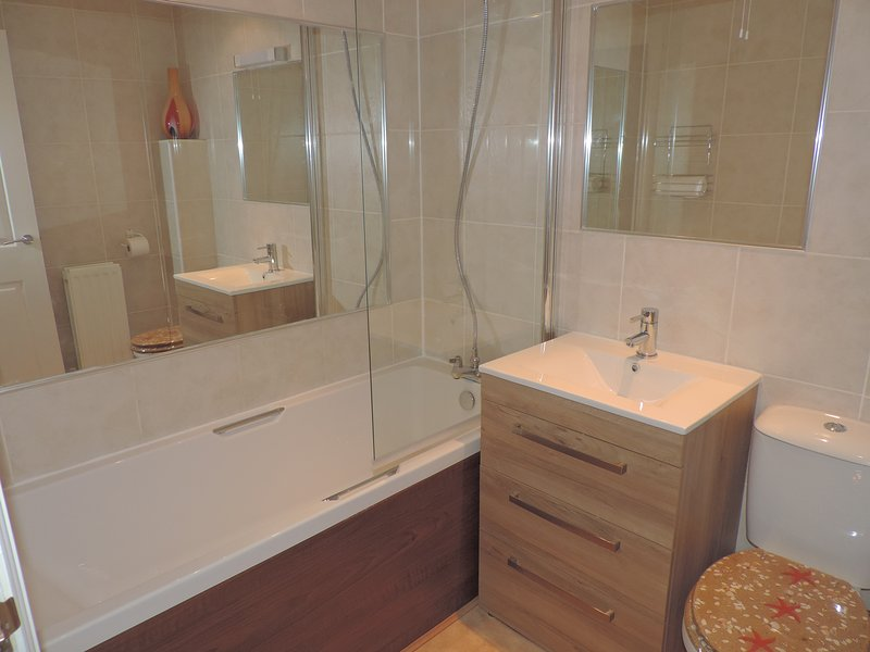 Family Bathroom with lots of storage and a combi boiler providing unlimited hot water
