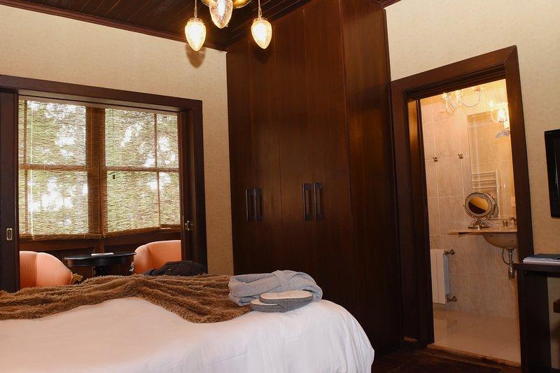 Suite met Quenn bed, open haard, erker
