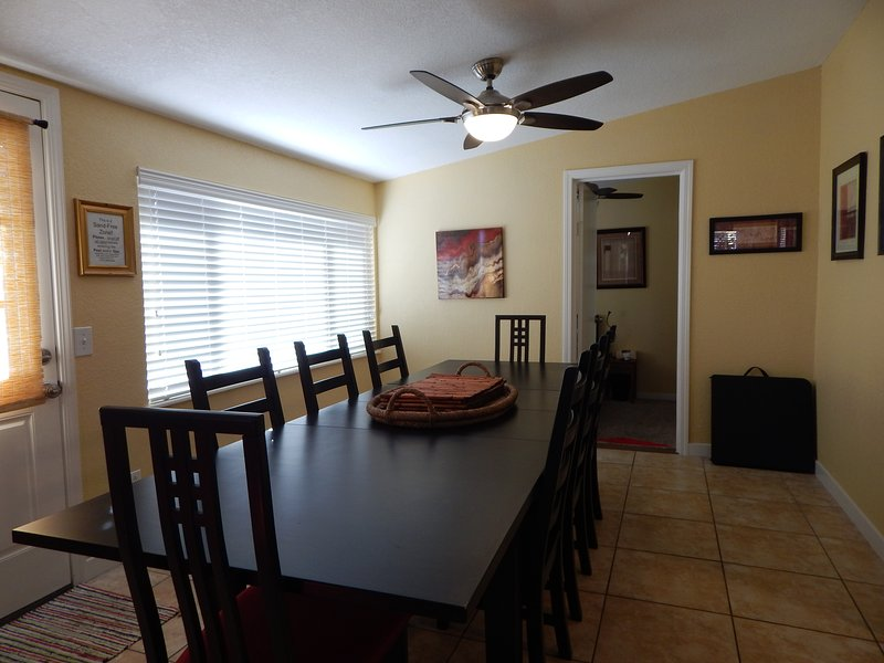 Huge Dining Table for 8-10 adults; Buffet Table available; Kids' eat in Game Rm.