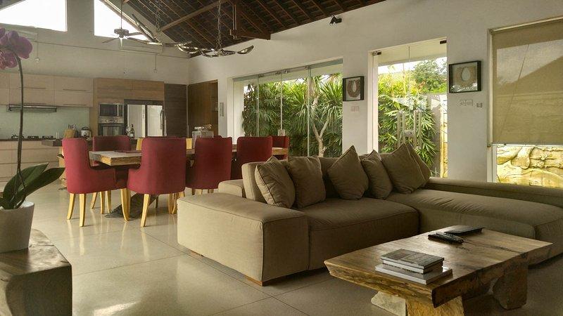 salon spacieux avec des ventilateurs et climatisation, TV par câble, lecteur DVD, système de son