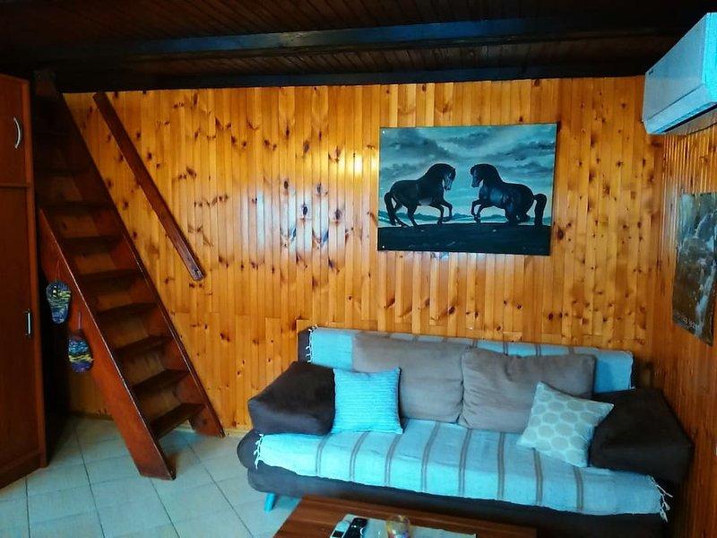 Canapé pour dormir, aussi. Prenez note que les escaliers qui mène à la chambre sont tout à fait étape.