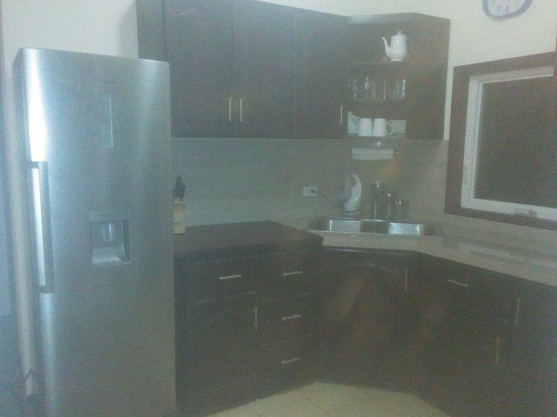 Nice sized kitchen, It also has a 3 burner cook top & a convection oven.