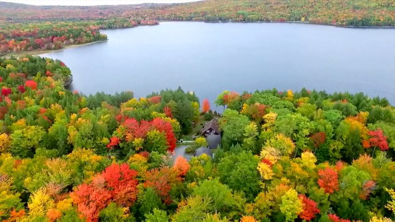 Looking out over the house facing Great Moose Lake's Northeast cove in Mid Oct