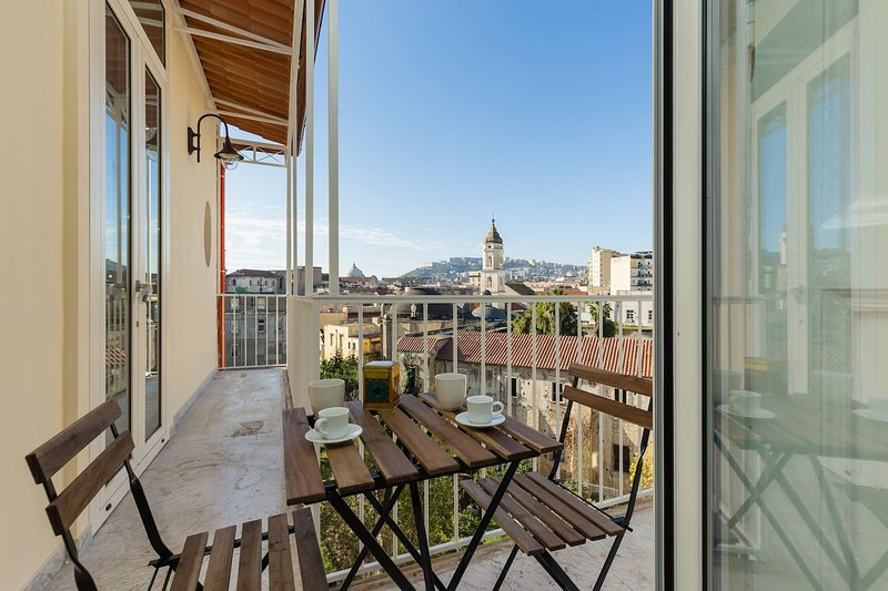Balcony overlooking the historic center of Naples