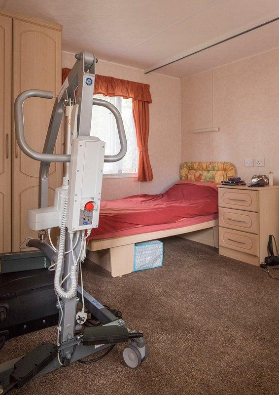 Grande chambre, 2 lits simples caravanes, appareil portatif