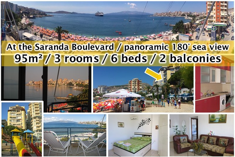 3 room apartment in the center of Saranda with sea view in each room, holiday rental in Saranda