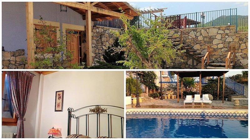 Huvudsakliga fasaden, sovrum och pool