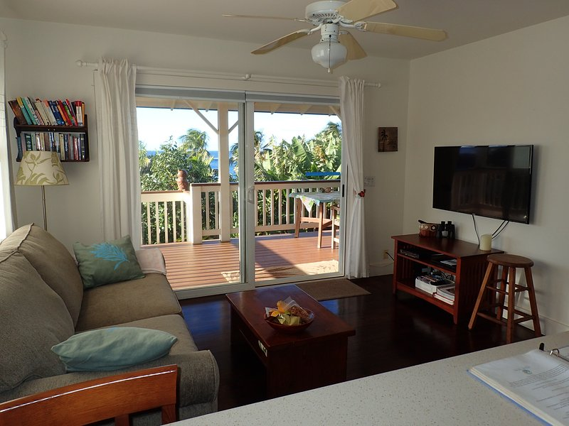 Living room opening on covered deck