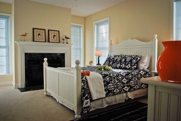 First Floor Queen Bedroom to Deck with Fireplace
