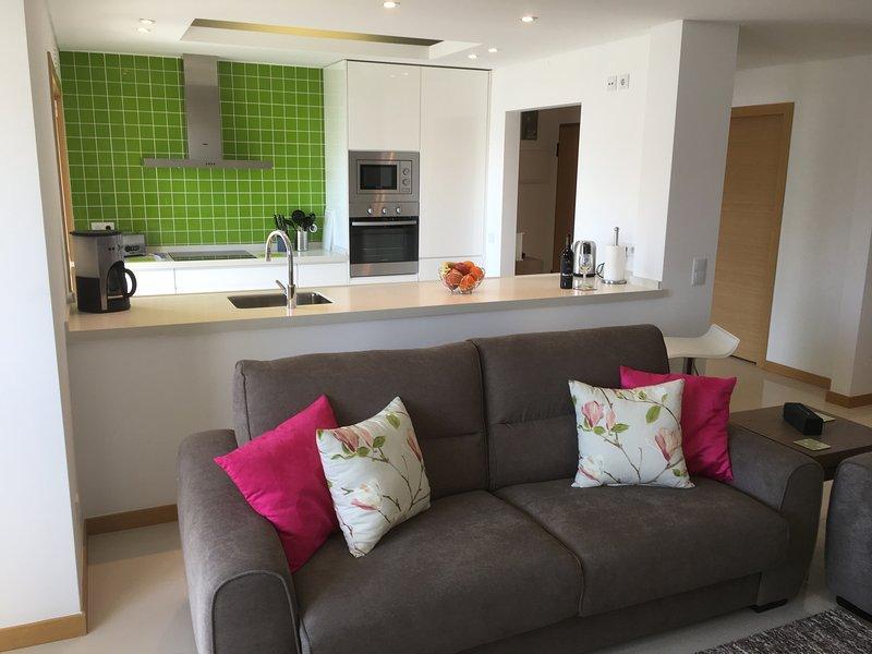 Modern open plan lounge/kitchen area