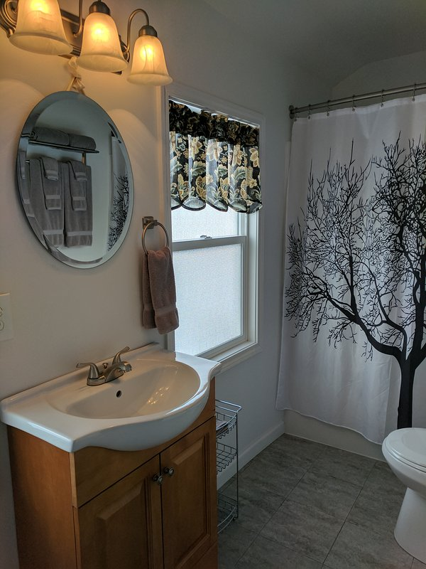 Full bathroom off the master bedroom with washer/dryer.