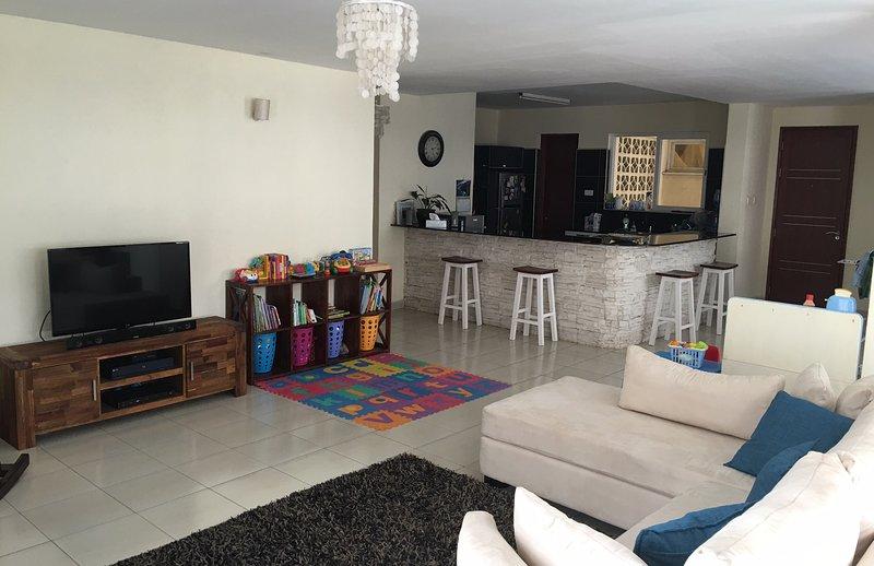 Open plan living & kitchen area.