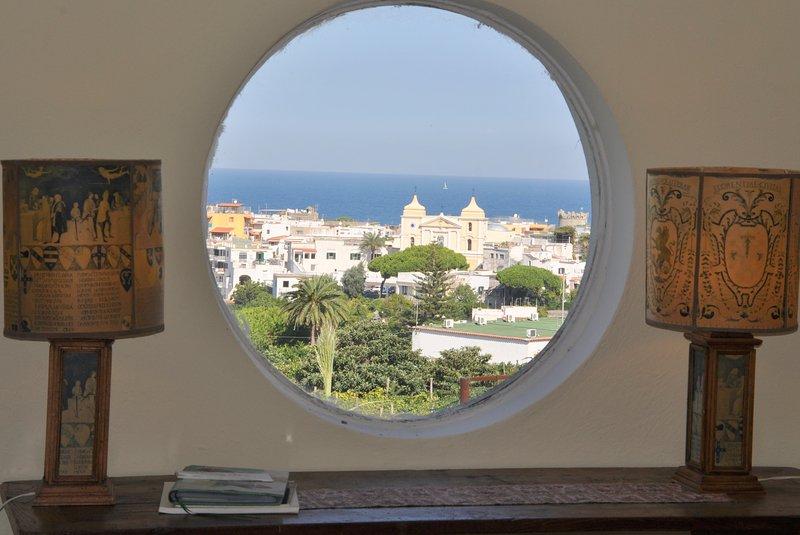 View through a round window on Forio