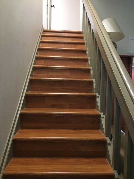 Beautiful hard wood stairs to level 2