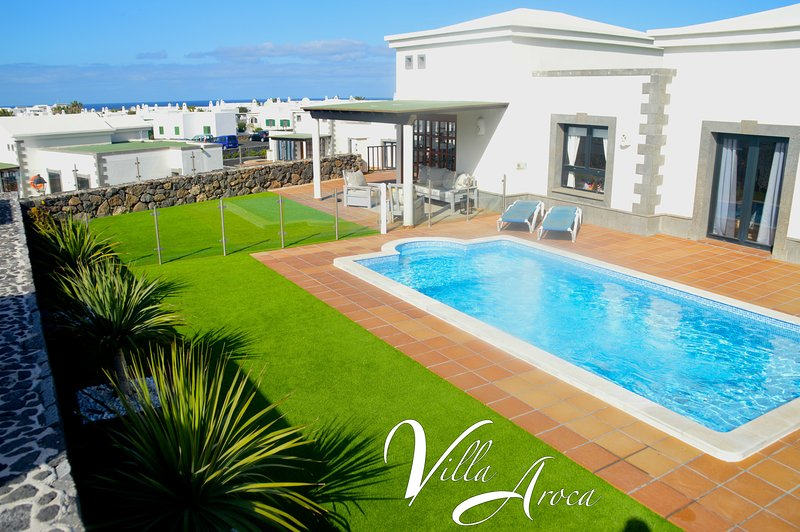 Villa with private pool, grassed lawn and beautiful views