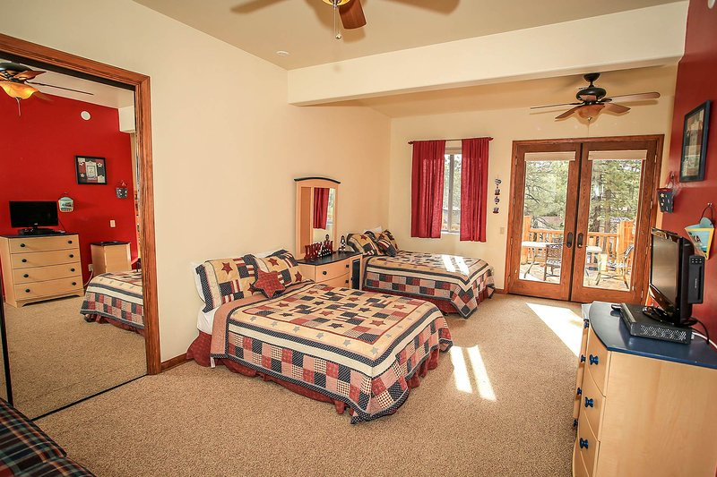 Bedroom 5- 2 Full Beds, Twin/Full Bunk Bed-TV, Deck Access, Shared Hall Bath- 2nd Level