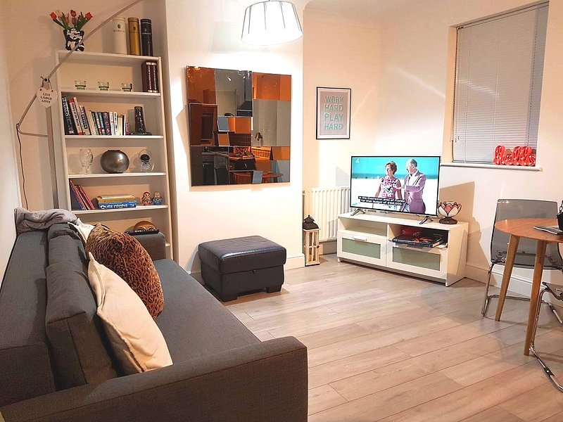Lounge area (inc. Sofa bed), TV, Free wifi, Dining table comes with 4 chairs, books, jigsaws etc.