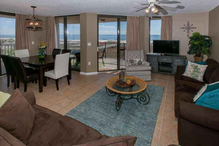 Great room area with access to Gulf-front balcony