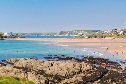 Bantham beach, only 35 mins drive, is one of our favourite beaches  and the best place for surfing.